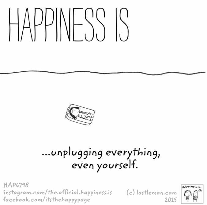 Happiness is unplugging everything, even yourself.