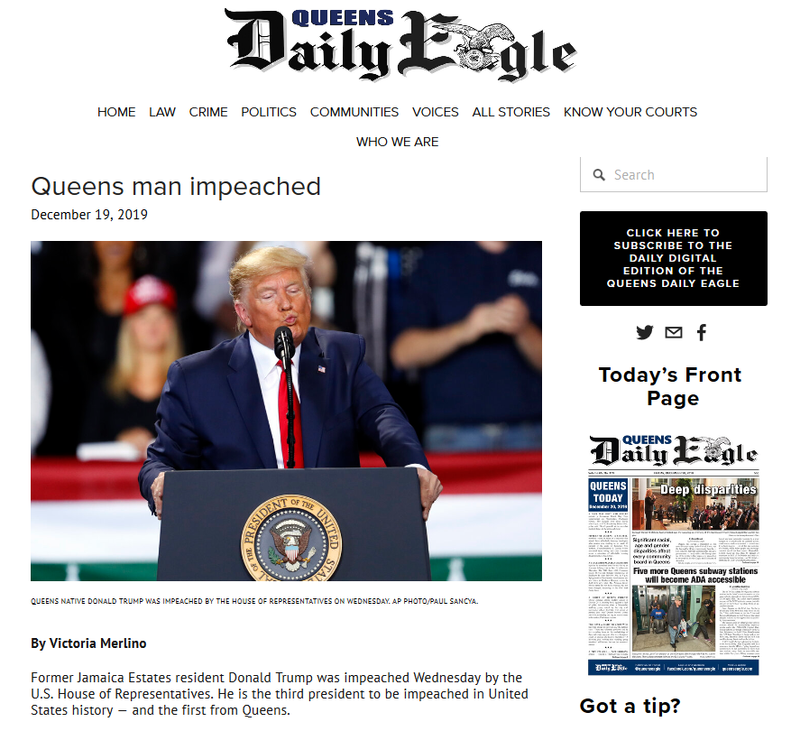 Queens Man Impeached